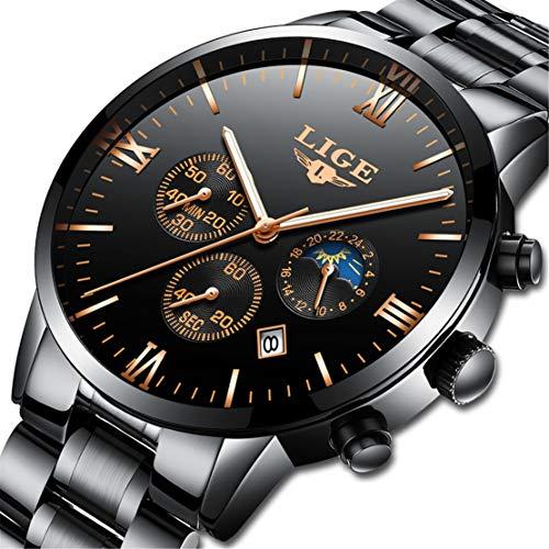 LIGE Herrenuhren chronographen Wasserdichte Analoger Quarz Armbanduhr Mode Edelstahl Schwarz Uhren 9831