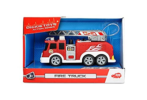 Dickie Toys 203302002 - Action Series Fire Truck, Feuerwehrauto inklusive Batterien, 15 cm