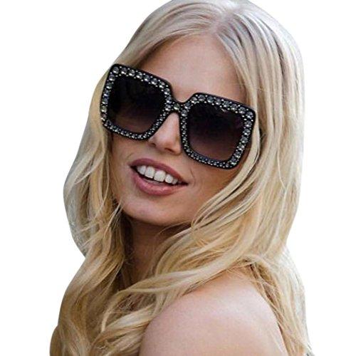 Damen Fashion Square Sonnenbrille Rosennie Damenmode künstliche Diamant Katze Ohr Quadrate Metallrahmen Marke Classic Luxury Diamond Flat Sonnenbrille Vintage Goggle Fliegerbrille für Frauen (D)