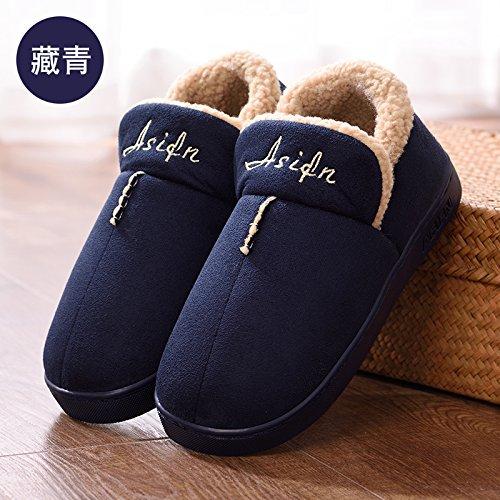 DogHaccd pantofole,Colore puro cotone di qualità pantofole pacchetto femmina con elegante indoor e outdoor home soggiorno pavimento anti-slittamento, donne in stato di gravidanza caldo cotone scarpe Blu scuro2