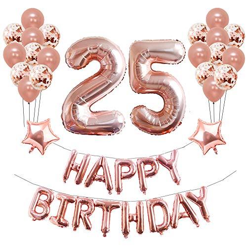 Yoart 25. Geburtstag Dekorationen Roségold für Mädchen Frauen Geburtstagsparty liefert 39 Stück mit Happy Birthday Banner Konfetti Latexballons Stern Folienballons - Seide Rose Teppich