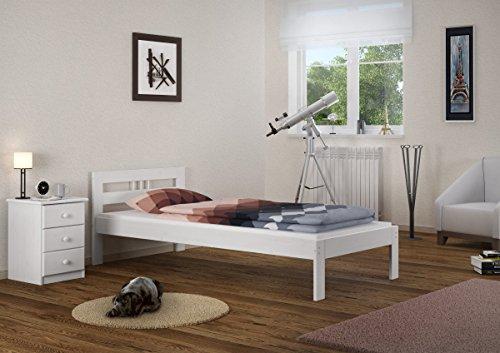 Massivholzbett Kiefer weiß Einzelbett 100×200 Jugendbett Futonbett Rollrost Gästebett 60.64-10 W