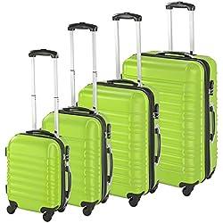 TecTake Set de 4 valises de Voyage de ABS Serrure à Combinaison intégrée   poignée télescopique   roulettes 360° - diverses Couleurs au Choix - (Vert   no. 402028)