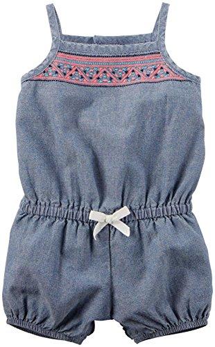 Carter's Jumpsuit Baby Sommer Overall Einteiler Body Mädchen girl onesie (9 Monate, jeansblau/rosa) (Carters Body Onesies)