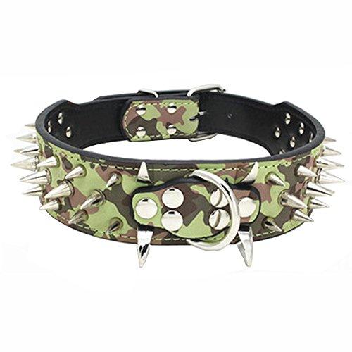Dogs Kingdom 50,8cm–66cm Länge Sharp Silber Spikes Nieten PU Leder Hund Halsband Metals Schnalle D-Ring verstellbar Haustier Halsband für mittlere Große Rassen Labrador Hunde Pitbull Boxer Bulldog