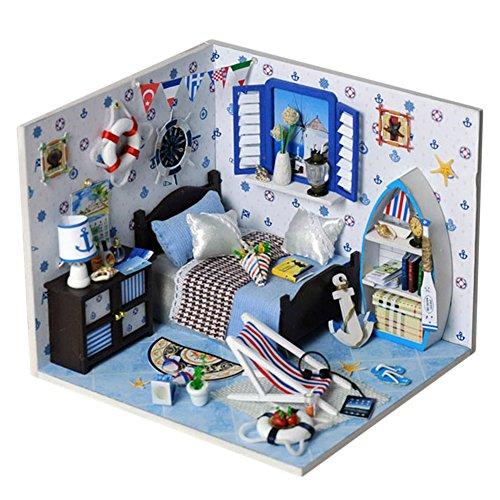 Oshide Puppenhaus Dollhouse DIY Kit Geschenk Mit Abdeckung/LED Licht/Musik (Naval style Zimmer) (Puppenhaus Womens)