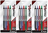 Pilot Precise V5 RT Retractable Rolling Ball Pens, Extra Fine Point, 4-Pack, Black/Blue/Red/Green Inks, 3 Of Each Color = Total 12 Pens