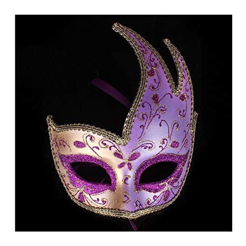 (WFTD Roman Mask Painted Half Face Dance Maske Mehrere Farben zur Auswahl Geeignet für Maskerade Party Performance Festival Karneval, Einheitsgröße,Purple)