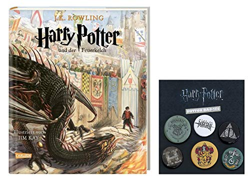 SCHMUCKAUSGABE: Harry Potter und der Feuerkelch - Band 4 (vierfarbig illustrierte Schmuckausgabe) + 1. Original Harry Potter Button