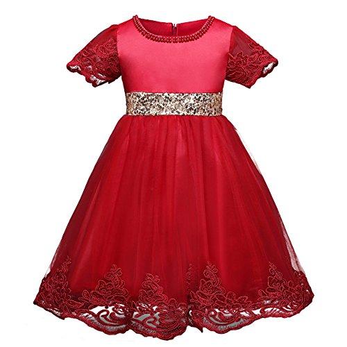 Qunsia M?dchen Prinzessin Kleid Spitze Sequined Hochzeit Taufe Kleid f¨¹r Kleinkind Baby M?dchen