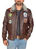 Veste en Cuir pour Homme Pilote Aviateur Top Gun Coiffer MILLÉSIME Badges Marron...