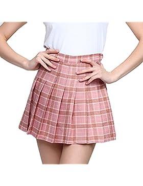 Juleya mujeres cintura alta falda plisada Wind cosplay falda a cuadros mini faldas cortas debajo