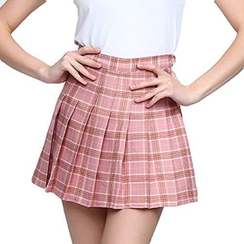 ropa primavera kawaii Falda plisada ocasional de la cintura alta de las mujeres hibote Wind Cosplay falda escocesa faldas del estudiante de Kawaii