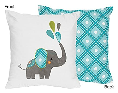 Sweet Jojo Designs Turquoise Blue, Gray and White Girl or Boy Decorative Accent Throw Pillow for Mod Elephant Bedding