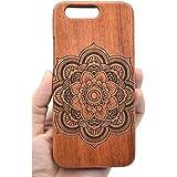 RoseFlower® OnePlus 5 Funda de Madera - Flores del mandala del palo de rosa - Natural Hecha a mano de Bambú / Madera Carcasa Case Cover