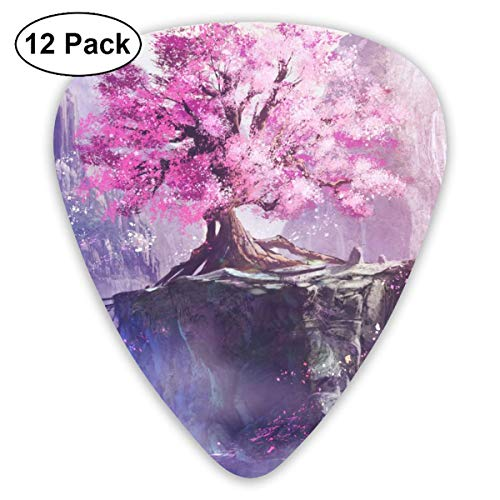 Blossom Cherry Tree Landscape 351 Shape Classic Celluloid Guitar Pick For Electric Acoustic Mandolin Bass (12 Count) Basso Blossom