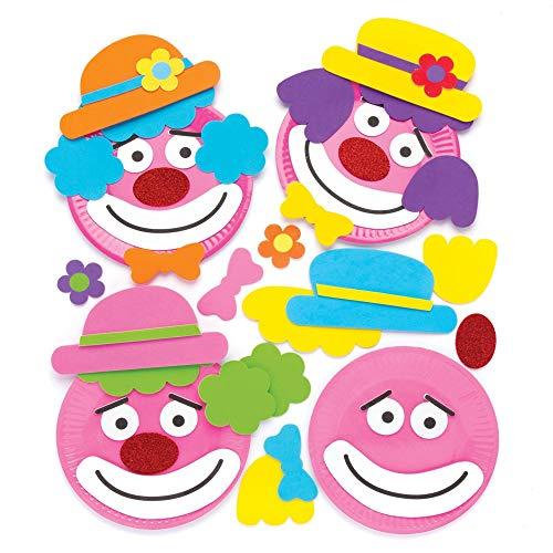 Baker Ross- Kits para Decorar Platos de Payaso con Espuma Adhesiva (Pack de 4) - Actividad de Manualidades Infantiles para Decorar