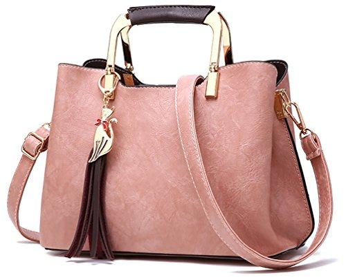 Ghlee Europa Stil Weiche Leder Umhängetasche Umhängetasche Dame Top Handle Tote Handtasche für Mädchen mit schönen Anhänger Rosa (Weiche Italienischen Leder-satchel)
