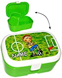 alles-meine.de GmbH Lunchbox / Brotdose -  Fußballspieler & Fußball  - Incl. Name - mit Extra Ei..