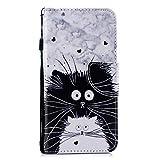 Kompatibel mit Xiaomi Redmi 6A, Herbests Bunt Leder Tasche Handyhülle Leder Flip Case Cover Brieftasche Schutzhülle Lederhülle Ständer Magnetverschluss Klappbar Handytasche,Schwarz Katze