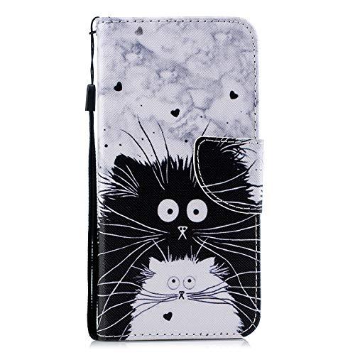 Ysimee Schutzhülle für Xiaomi Redmi 6A, aus Leder, Katze Schwarz -