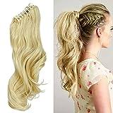 18' Queue de Cheval Postiche Extension de Cheveux (Attachée par Pince/Griffe) Ondulé - Claw on Ponytail Clip in Hair Extensions - Blond Très Clair (45cm-145g)
