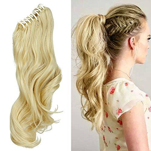 Coda capelli extension coda di cavallo con pinza 45cm estensioni per capelli ondulati mossi claw on ponytail hair resistente al calore, biondo chiarissimo