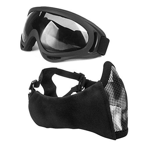 Wwman Demi-masque visage tactique et pliable avec protection des oreilles et maillage en acier + Lunettes avec protection UV et sangle réglable pour airsoft, paintball, Counter Strike, BK-Skull