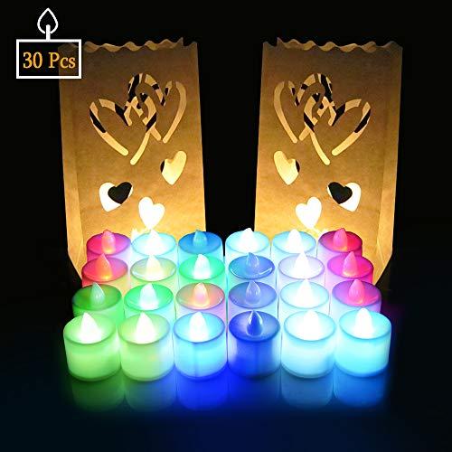 Natale Capodanno Candele LED Lumini 30 Pz, SPECOOL Candele LED a lume di candela con...