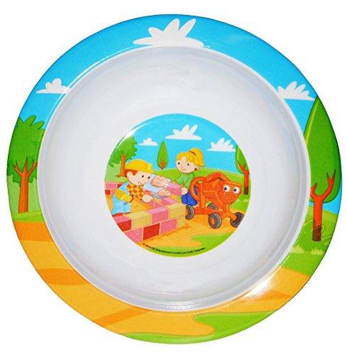 """Müslischale / Suppenteller - """" Bob der Baumeister """"- Melamin - tiefer Frühstücksteller / Eßteller - Kindergeschirr - für Jungen - Baustellen Auto - Fahrzeuge Bagger - Plastik - Kinderteller / Plastikteller - Speiseteller"""