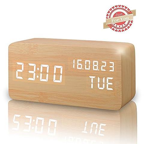 LED Digital Wecker, Zeigt Uhrzeit Datum Woche und Temperatur, Würfel
