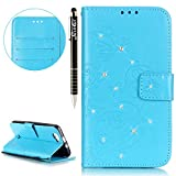 SainCat Coque Etui pour Wiko Rainbow 4G Cover Bumper,Anti-scratch Cuir Dragonne Portefeuille PU Cuir Etui pour Wiko Rainbow 4G,Coque de Protection en Cuir Folio Housse,SainCat PU Leather Case Bling Diamond Brillant Glitter Wallet Flip Protective Cover Protector,Etui de Protection PU Cuir Relief fille papillon Coque Housse Swag Case Cover Coquille Couverture avec Fonction Carte de Crédit pour Wiko Rainbow 4G + 1 X Stylet(Papillon de diamants,bleu clair)