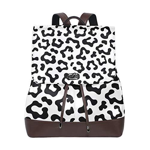 MIGAGA Piel de Leopardo Textura de Patrones sin Fisuras exótico,Mochila de Cuero de PU Mochila de Colegio Colegio Mochila de Estudiantes Viajes de Viaje Bolsas de Camping