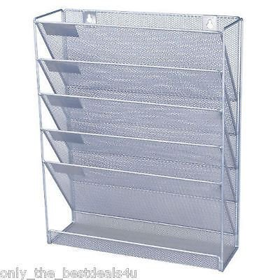 Mesh wall literature holder magazine hanging file SILVER- HOME/ OFFICE ORGANIZER