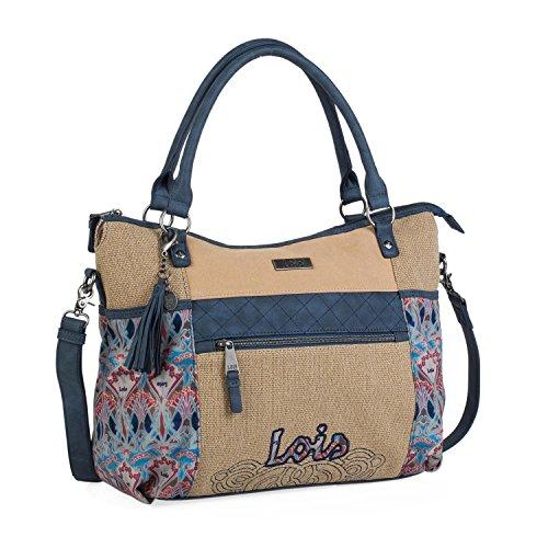 Lois - Bolso Grande Tipo Shopping de Mujer. 2 Asas Largas y Bandolera. Lona Estampada y Cuero PU....