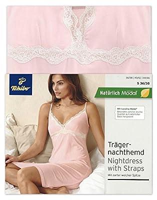 TCM Tchibo Trägernachthemd Nachthemd mit Spitze Single Jersey Modal Rosa