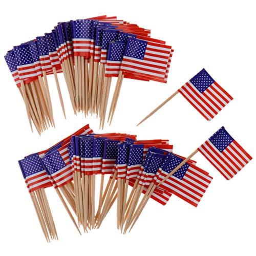 perfeclan 100pcs Nationalflagge Sticks Picker Stäbchen Zahnstocher Dekor für Cocktail Cupcake Sandwich Salat usw. aus Papier und Holz - Amerika