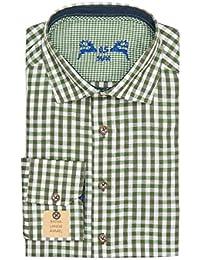 OS Trachten Trachtenhemd Langarm Grün Weiß Karo Slimfit 001816, Extra Lange  Ärmel, Material Baumwolle 0d733bf800