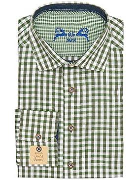 OS Trachten Trachtenhemd Langarm Grün Weiß Karo Slimfit 001816, Extra Lange Ärmel, Material Baumwolle