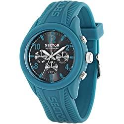 Sector Men's Quartz Watch with Blue Dial Analogue Display and Green Silicone Strap R3251576008