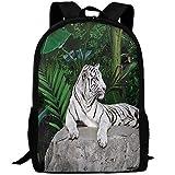 best& Casual White Tiger Setting On Stone Laptop Backpack School Bag Shoulder Bag Travel Daypack Handbag