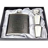 Petaca de acero inoxidable de 7 onzas con 2 tazas, 1 embudo, frascos portátiles para guardar whisky líquido con alcohol (incluye caja de regalo)
