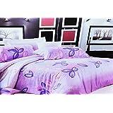 155x200 violett erika rosa mehrfarbig Bettwäsche Bettbezüge Bettwäschegarnituren 100% Baumwollsatin Blumenmuster 67