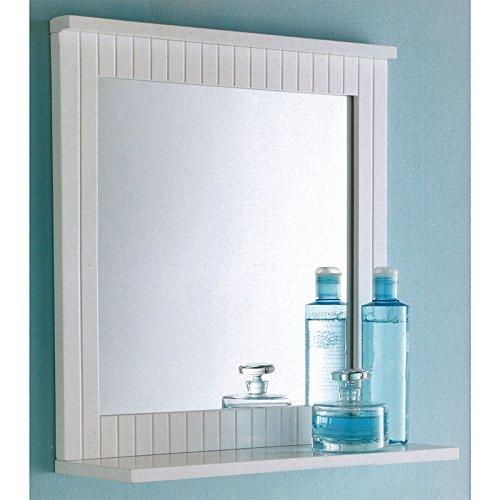 Maine Badezimmer-Spiegel, Holz-Rahmen, zur Wandmontage, mit Ablage für Kosmetik, weiß