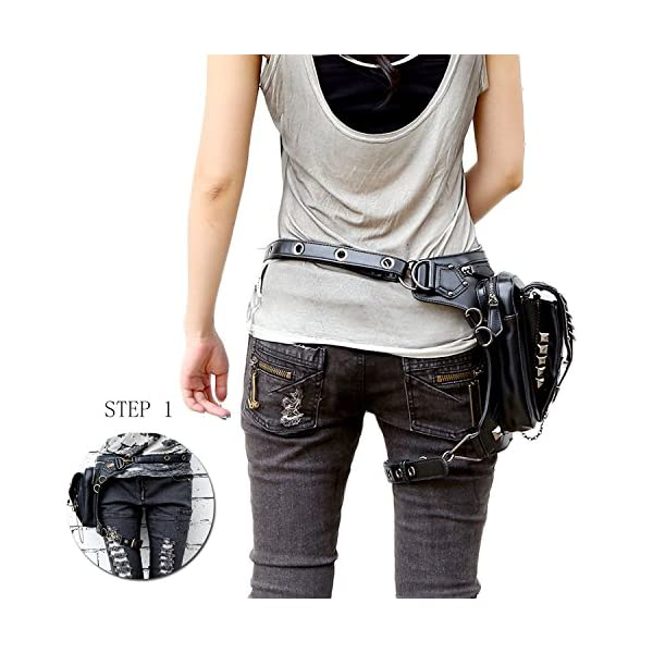 Retro Women MEN Gothic Rock Leather Steampunk Bag Steam Punk Retro Rock Gothic Goth Shoulder Waist Bags Packs Victorian Style for Women Men + leg Thigh Holster Bag DM201605 100% Brand New and High Quality. Adjustable belt design for better fitting body Material : Leather ( PU Leather) Durable material and workmanship to withstand daily wear & tear. 4