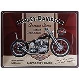 Nostalgic Art Harley Davidson Panhead - Placa decorativa, metal, 30 x 40 cm, color beige y marrón