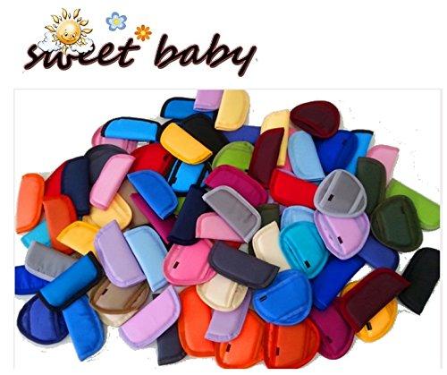 Sweet Baby ** BEIGE ** 3er Set gefütterte Gurtpolster / Schutzpolster für AutokinderSitz / Kinderwagen / Buggy z.b. Maxi Cosi, Römer etc.