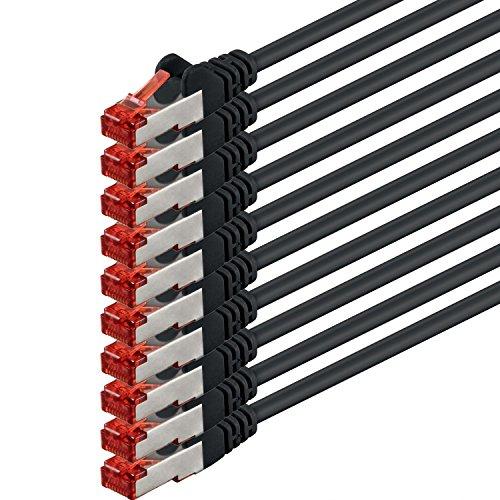 1aTTack CAT6PIMF SSTP Netzwerk Patch-Kabel mit 2x RJ45Stecker doppelt geschirmt 5Stück - schwarz - 10 Stück 0,25 Meter (0.25)