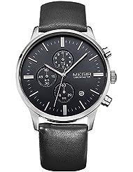 MEGIR - Reloj de pulsera para hombre (estilo casual, correa de piel negra, impermeable, cronógrafo, plata y cuarzo)