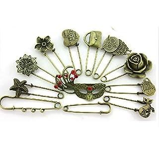Allbusky Vintage Style Brooch DIY Craft Jewellery Making for Girls Women Ladies (Bronze 12 Pack)